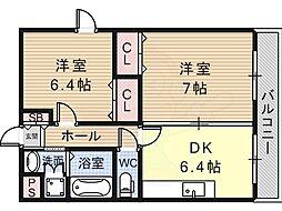 ヴェヌスタ御舟 4階2DKの間取り