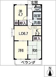 アムールノース[2階]の間取り