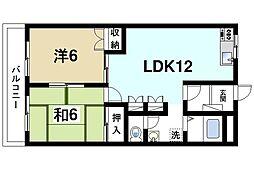 奈良県奈良市青野町1丁目の賃貸マンションの間取り