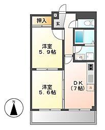 パークサイド若鶴[4階]の間取り