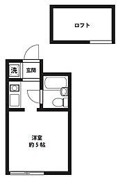 アップルハウス三ツ沢A[203号室]の間取り