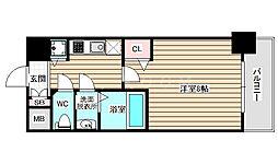 ディクス福島レジデンス 6階1Kの間取り