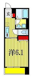 アモン津田沼 2階1Kの間取り