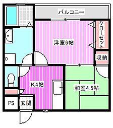 奈良県橿原市醍醐町の賃貸マンションの間取り