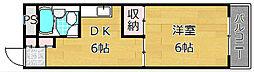 大阪府枚方市天之川町の賃貸マンションの間取り