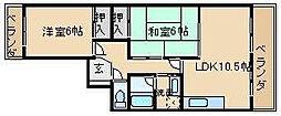第9摂津グリーンハイツ[301号室]の間取り
