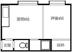 北海道札幌市豊平区中の島一条3丁目の賃貸アパートの間取り