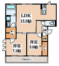 大阪府大阪市生野区中川2丁目の賃貸アパートの間取り