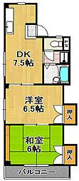 マンション西平[4階]の間取り