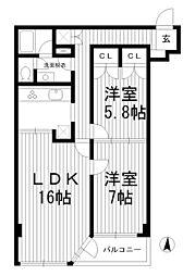 東京都杉並区高円寺南5丁目の賃貸マンションの間取り