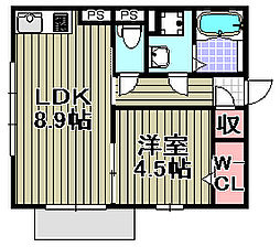 グランド関空[B201号室]の間取り