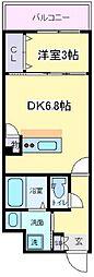 SOAR NAGAI 2階1DKの間取り