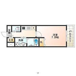Osaka Metro谷町線 田辺駅 徒歩1分の賃貸マンション 8階1Kの間取り