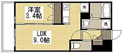 (仮)月光三吉町3丁目 2階1LDKの間取り