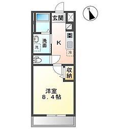 袖ケ浦市蔵波台4丁目新築アパート 2階1Kの間取り