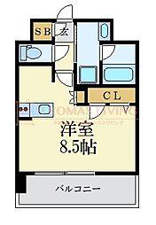 LANDIC 美野島3丁目 11階ワンルームの間取り