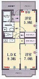 サンロード伊豆[4階]の間取り