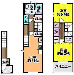 大阪府富田林市昭和町2丁目の賃貸アパートの間取り
