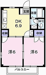 兵庫県姫路市網干区垣内中町の賃貸アパートの間取り