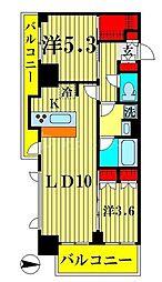 アジールコート両国北斎通 9階2LDKの間取り