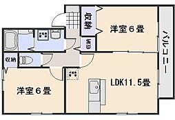 ハーミテージ B棟[1階]の間取り