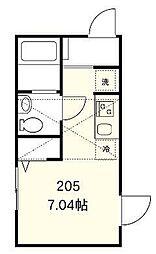 メゾンボヌール新中野 2階ワンルームの間取り
