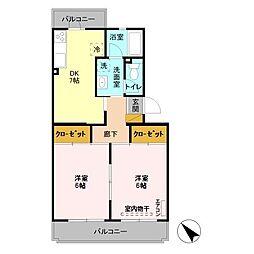 埼玉県熊谷市久下3丁目の賃貸マンションの間取り