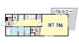 ジークレフ神戸元町[7F号室]の間取り
