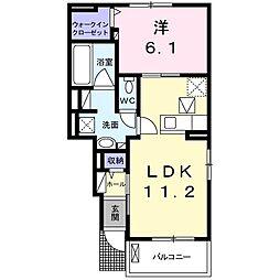 サンフォレスタ鎌倉2 1階1LDKの間取り