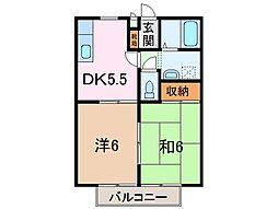 静岡県沼津市西添町の賃貸アパートの間取り