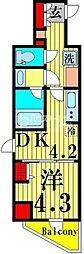 ラフィスタ北綾瀬 6階1DKの間取り