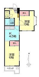 中島第2ビル[401号室]の間取り