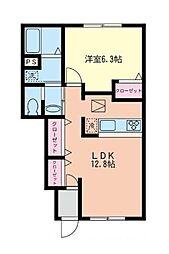 神奈川県横浜市都筑区折本町の賃貸アパートの間取り