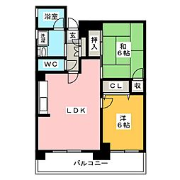 シャンヴル箱崎[6階]の間取り