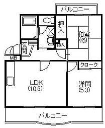 メディオ初生弐番館[4階]の間取り
