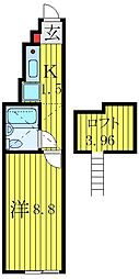 JR埼京線 板橋駅 徒歩6分の賃貸マンション 1階ワンルームの間取り