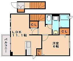 福岡県春日市上白水6の賃貸アパートの間取り