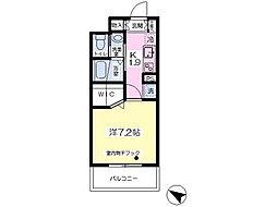 サニーハイツ さいたま新都心 4階1Kの間取り