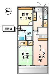 愛知県稲沢市下津町銚子原の賃貸マンションの間取り