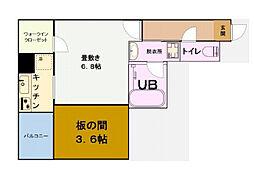 グリュックメゾン福島 4階1Kの間取り