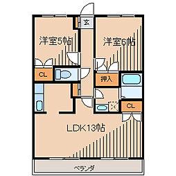 セントラル喜和[4階]の間取り