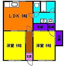 静岡県浜松市中区高丘西3丁目の賃貸アパートの間取り