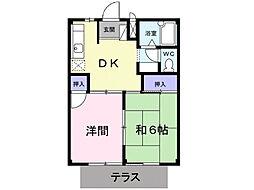 片岡ハイツB[1階]の間取り