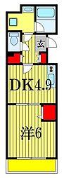 JR総武線 西船橋駅 徒歩12分の賃貸アパート 2階1DKの間取り