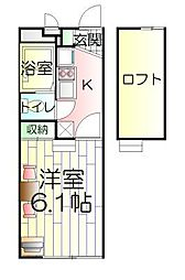 神奈川県横浜市鶴見区下野谷町1丁目の賃貸アパートの間取り