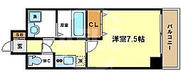 W.O.B.UMEDA 2階1Kの間取り
