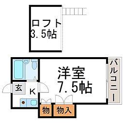ピュアコーポ尼崎[2階]の間取り