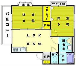 コーポ誠B[1階]の間取り