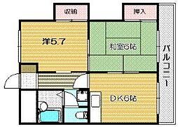ステイションコーポ茨木[5階]の間取り