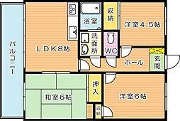 パレス沖田[6階]の間取り